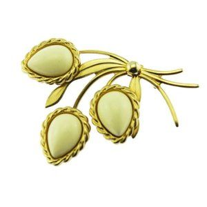 Gold and White Leaf Brooch